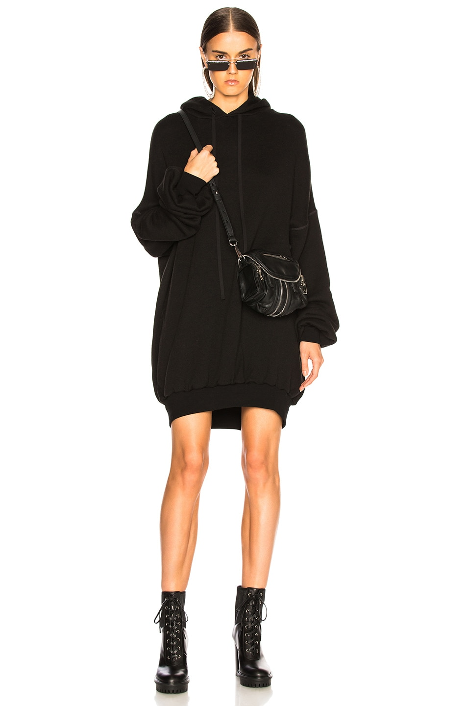 Ben Taverniti Unravel Project Dresses UNRAVEL HOODIE DRESS IN BLACK