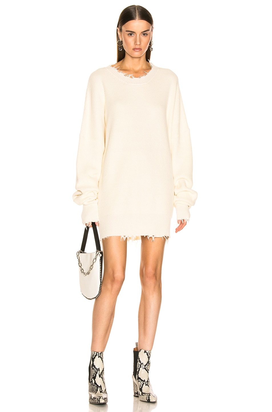 Image 1 of Unravel Waffle Oversize Dress in White
