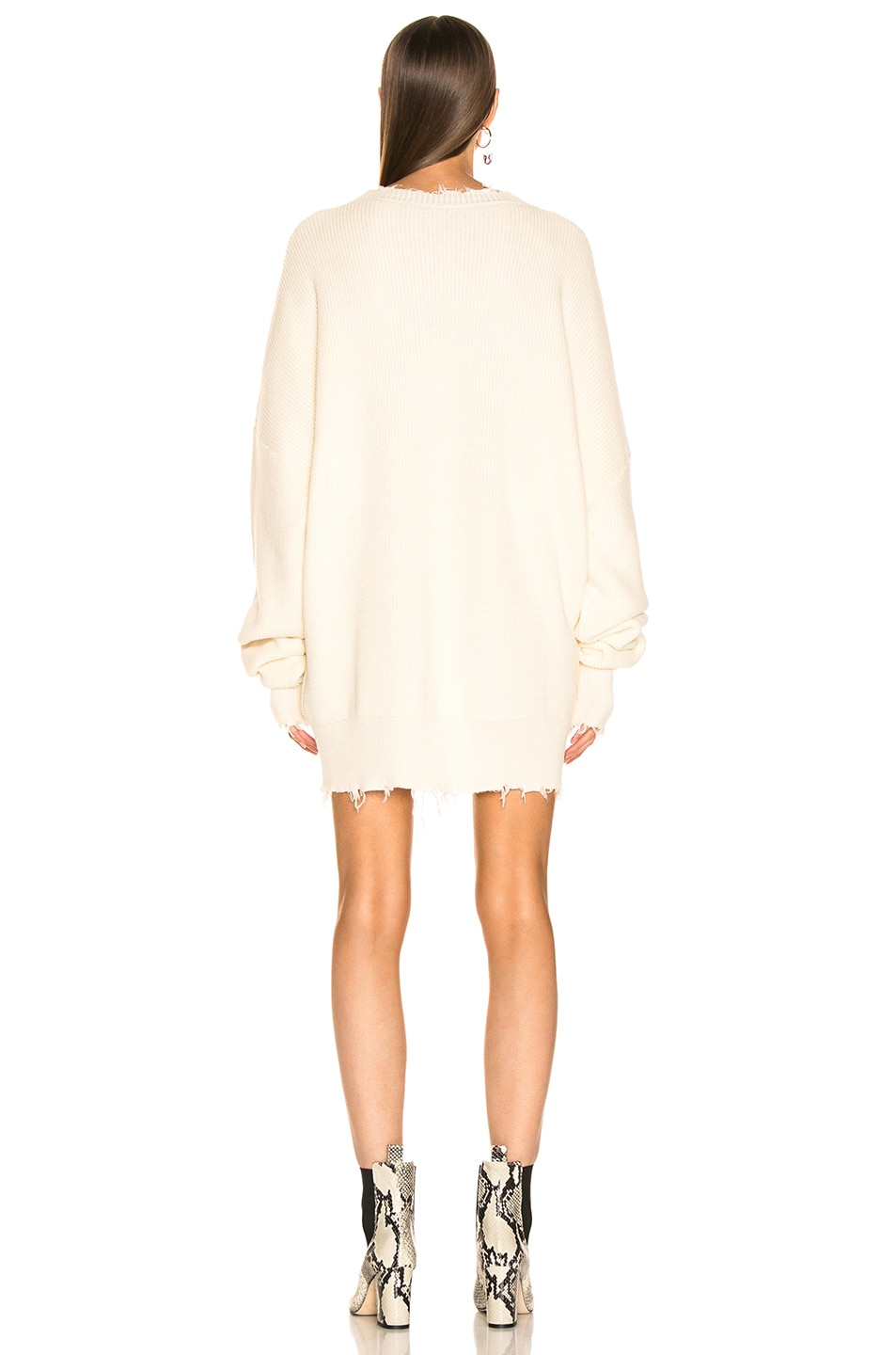 Image 3 of Unravel Waffle Oversize Dress in White