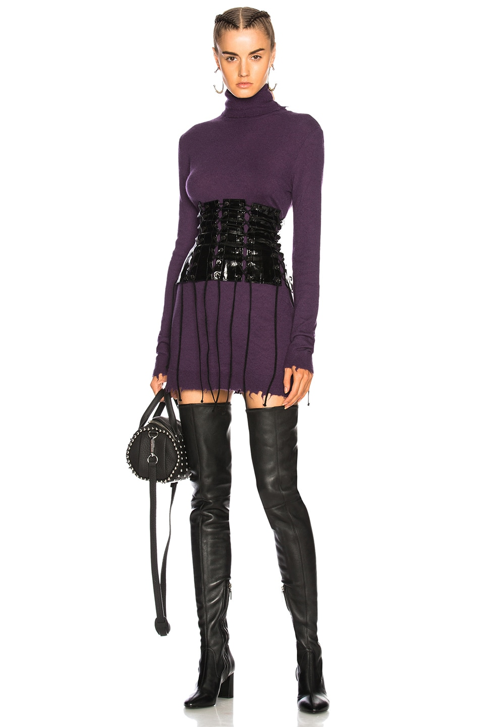 Image 1 Of Unravel Destroyed Turtleneck Sweater Dress In Purple