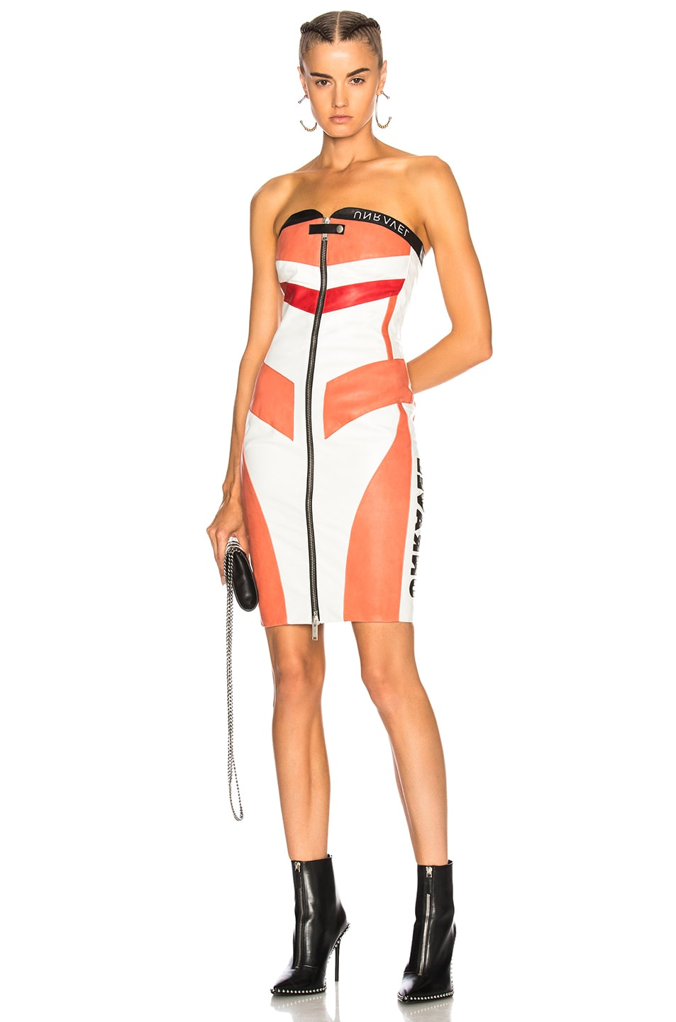 Unravel Leather Moto Bustier Dress in White,Pink