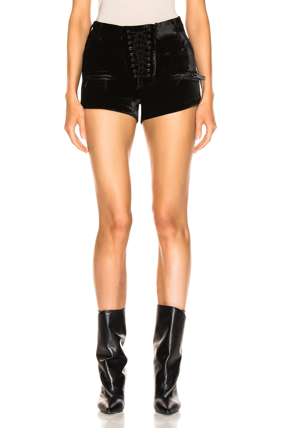 Image 1 of Unravel Velvet Lace Up Shorts in Black