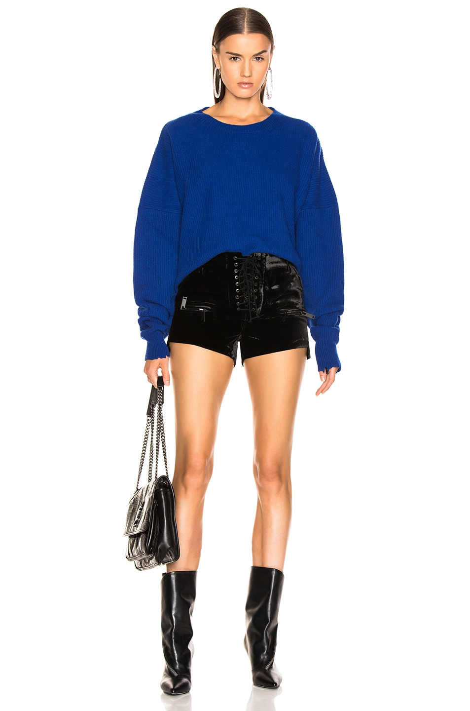 Image 4 of Unravel Velvet Lace Up Shorts in Black