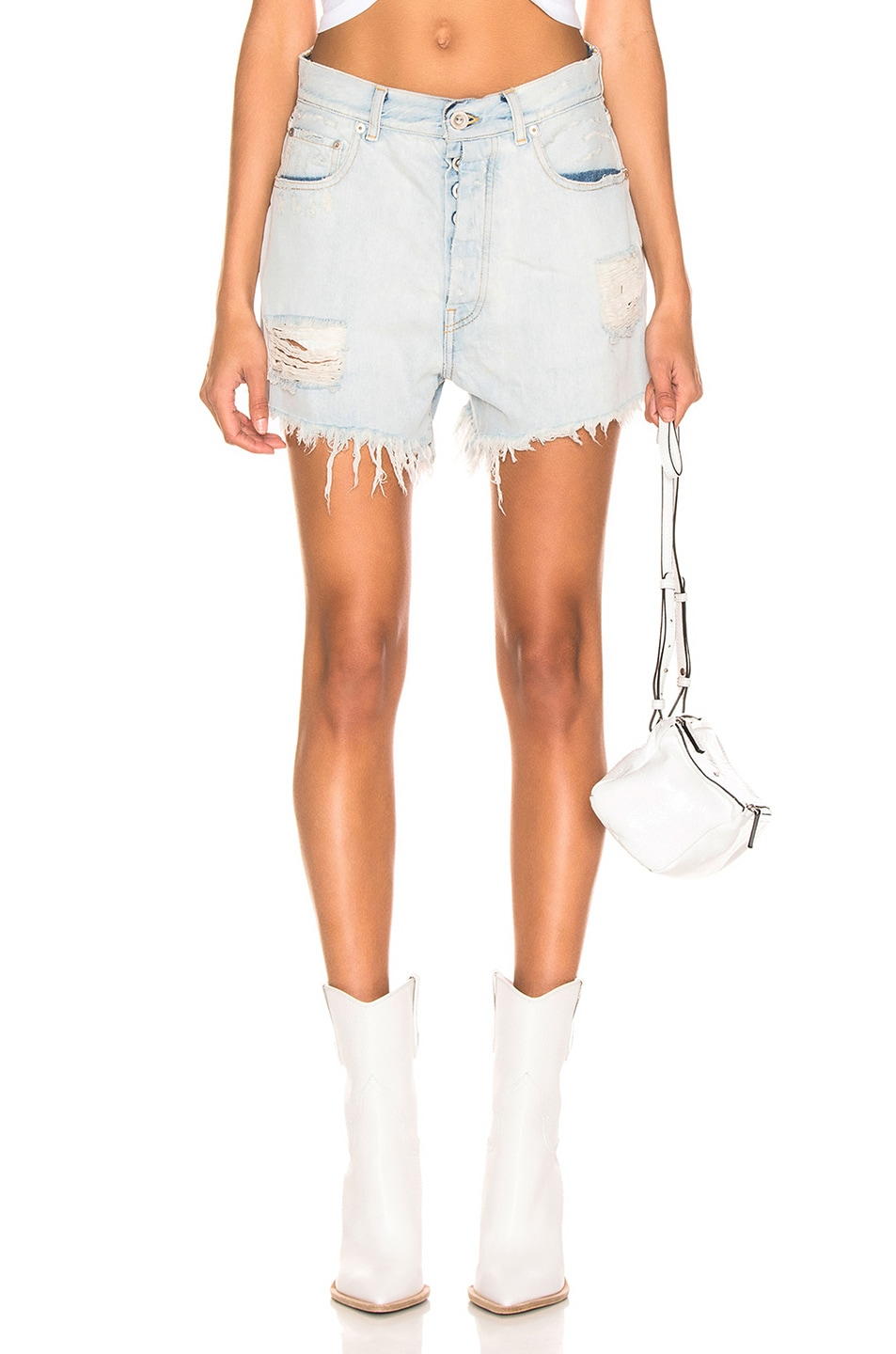 Image 1 of Unravel Bleach Baggy Denim Boy Shorts in Indigo
