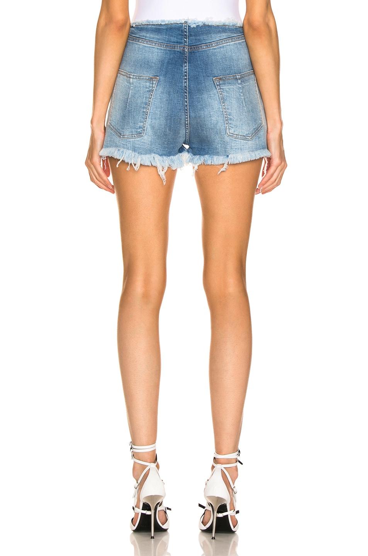 Image 3 of Unravel Stonewash Lace Up Denim Shorts in Indigo