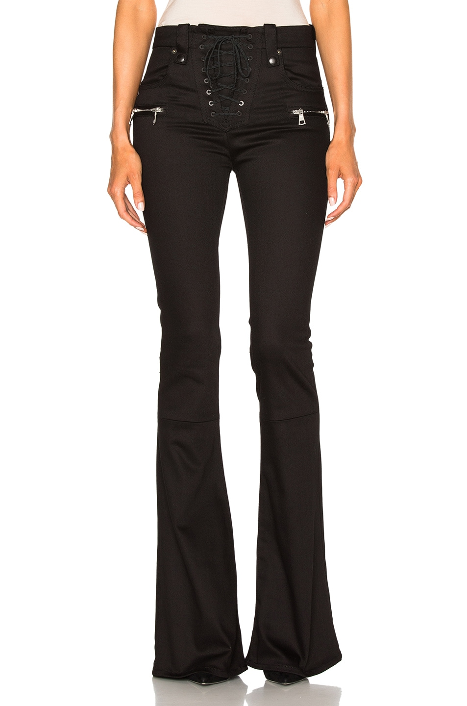 Image 1 of Unravel Denim Lace Up Flare Pants in Black