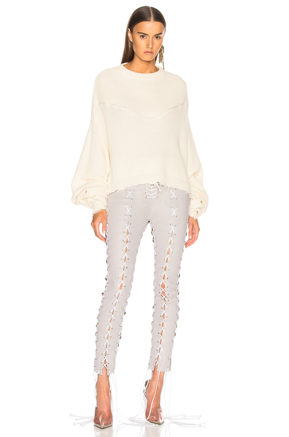 Image 1 of Unravel Waffle Knit Hybrid Crewneck Sweater in Off White