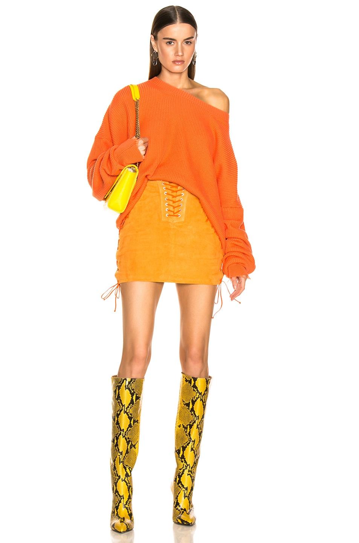 Unravel Rib Oversize Crew Sweater Orange chic