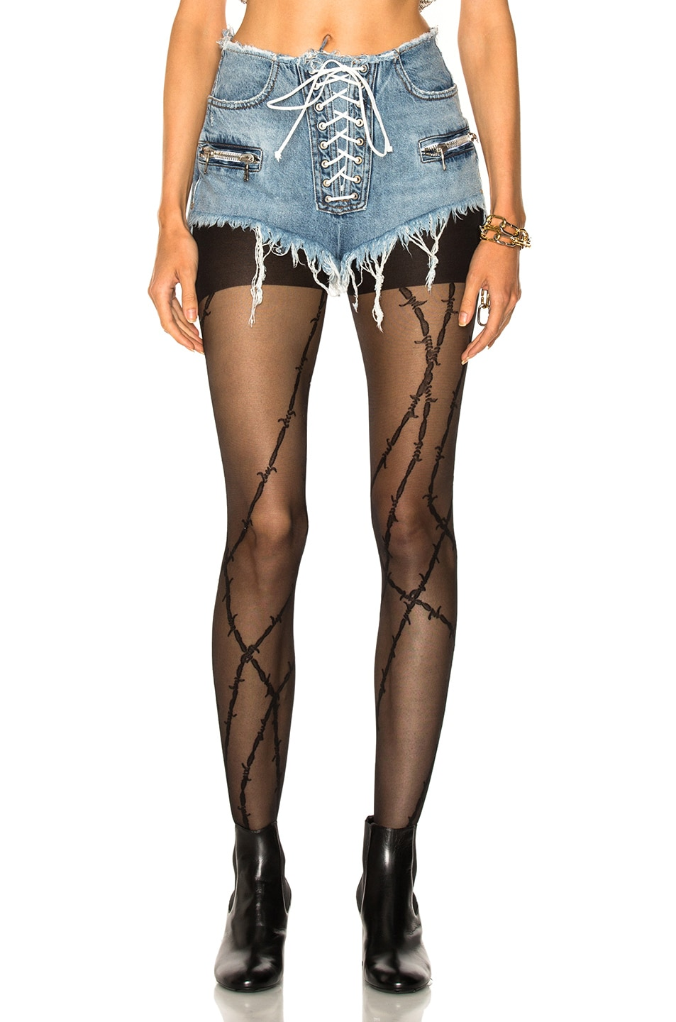 Image 1 of Unravel Lace Front Denim Shorts in Indigo Bleach