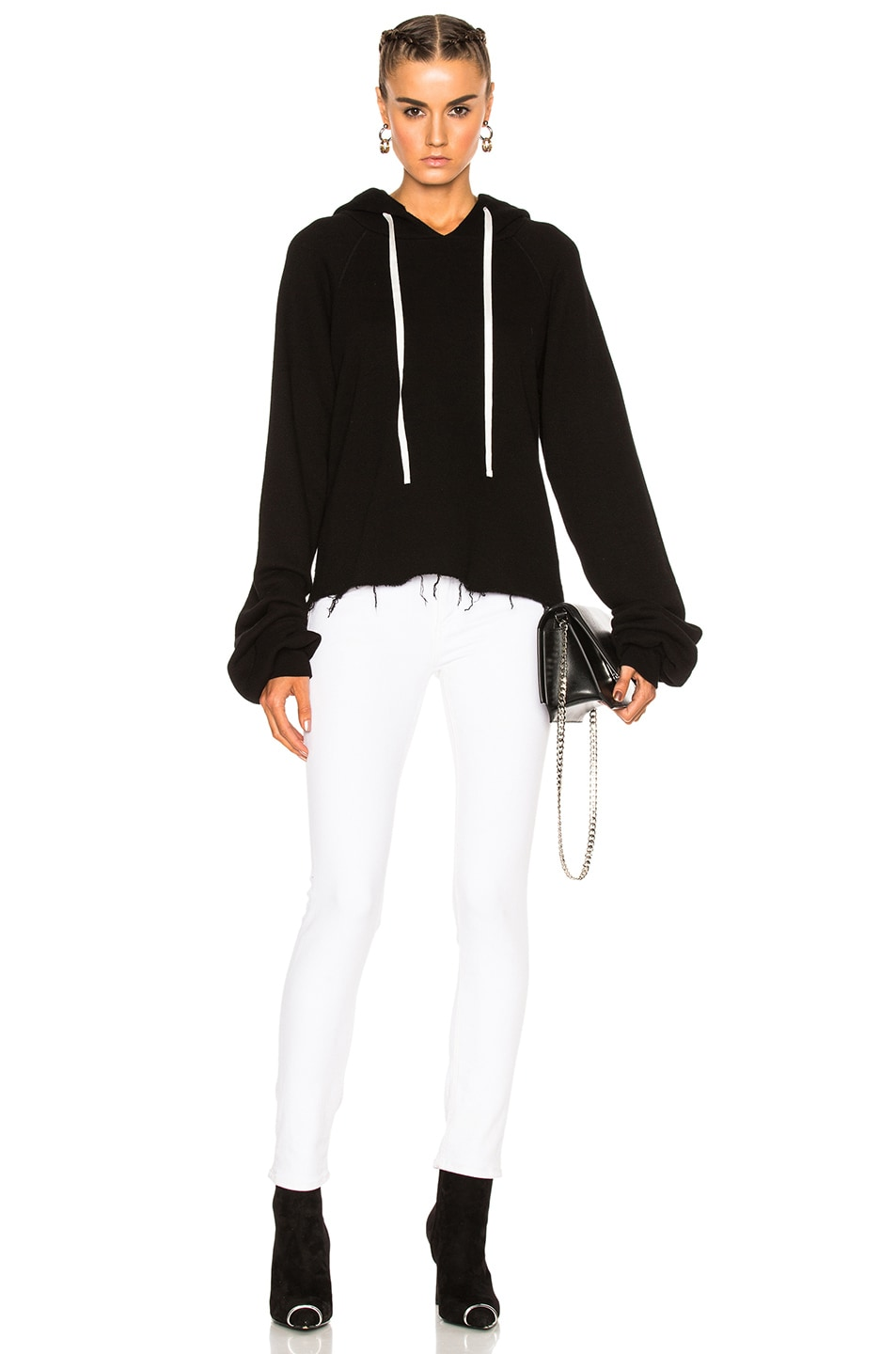 Image 1 of Unravel for FWRD Oversize Sleeve Cashmere Hoodie in Black