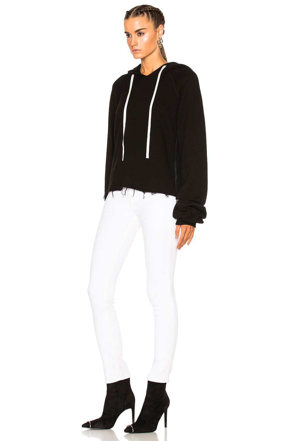 Image 2 of Unravel for FWRD Oversize Sleeve Cashmere Hoodie in Black