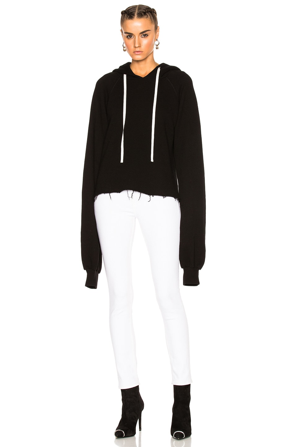 Image 4 of Unravel for FWRD Oversize Sleeve Cashmere Hoodie in Black