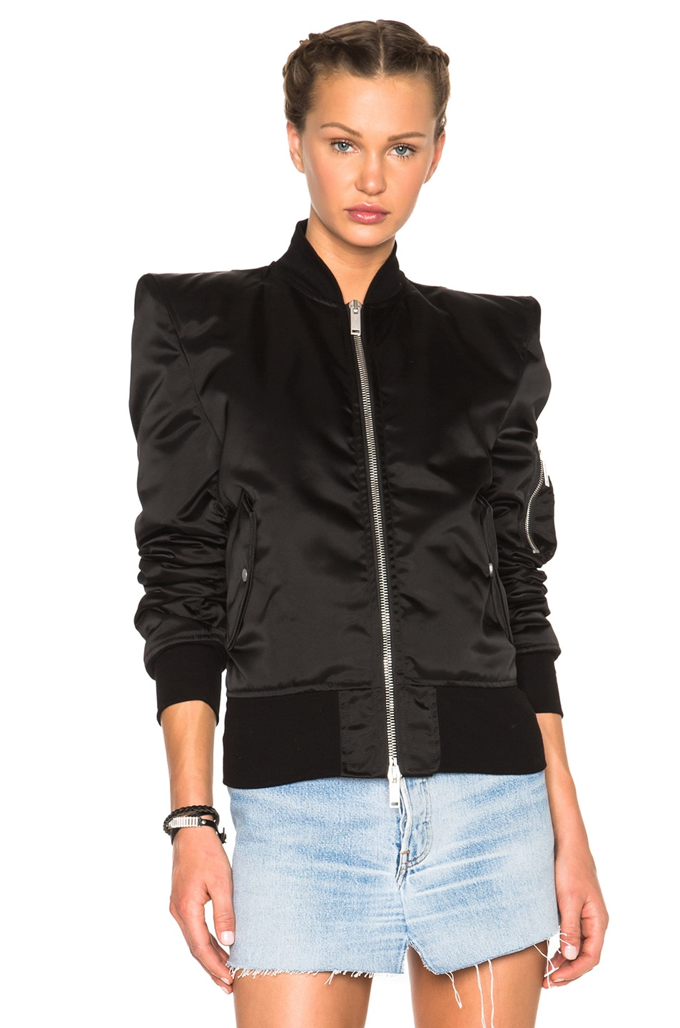 Image 2 of Unravel FWRD Exclusive Sartorial Tuxedo Bomber in Black