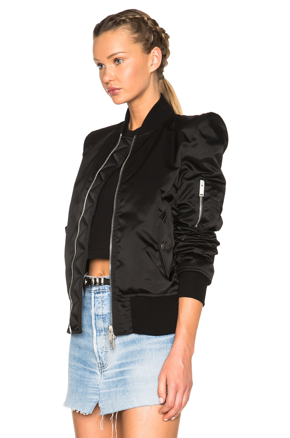 Image 3 of Unravel FWRD Exclusive Sartorial Tuxedo Bomber in Black