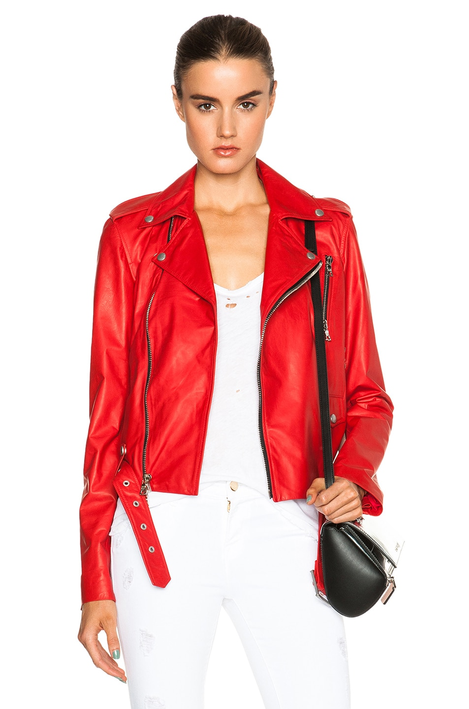 Image 1 of Unravel Lace Up Biker Jacket in Red