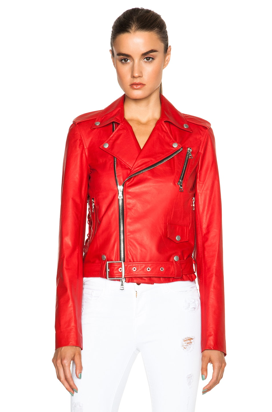 Image 2 of Unravel Lace Up Biker Jacket in Red