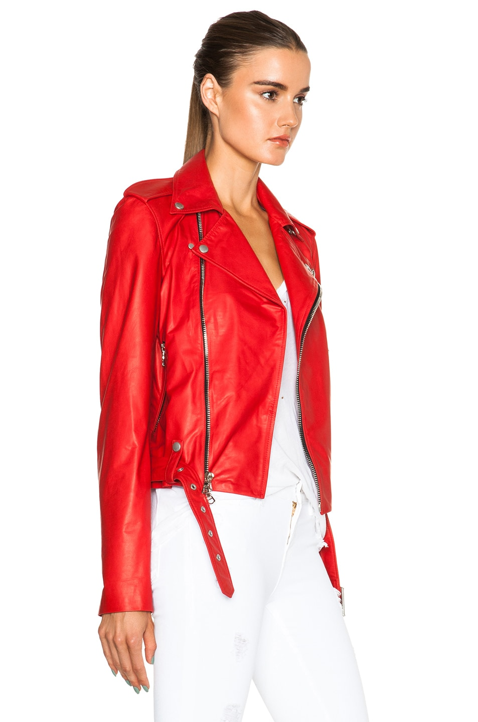Image 4 of Unravel Lace Up Biker Jacket in Red