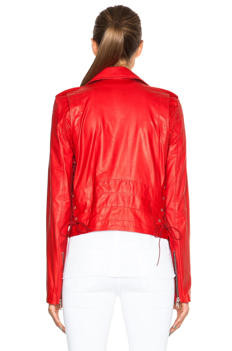 Image 5 of Unravel Lace Up Biker Jacket in Red
