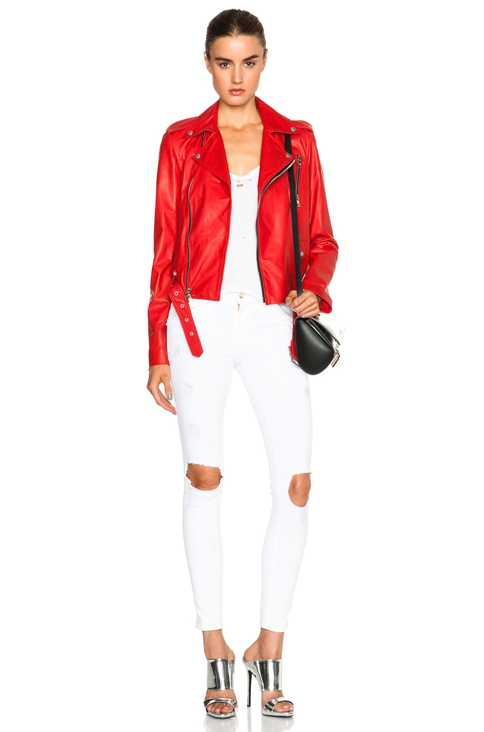 Image 6 of Unravel Lace Up Biker Jacket in Red