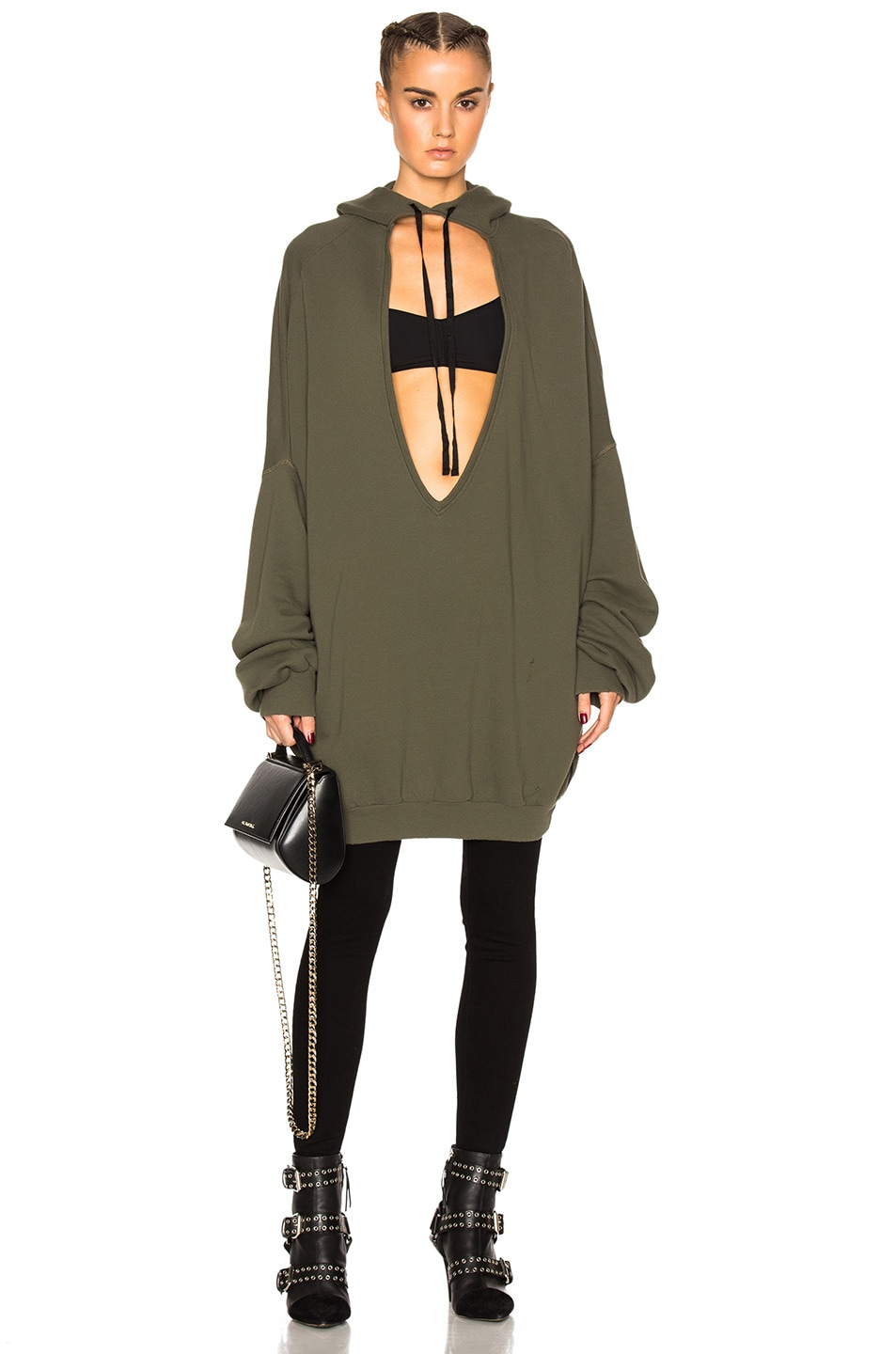 Image 1 of Unravel Terry V Neck Hoodie in Army