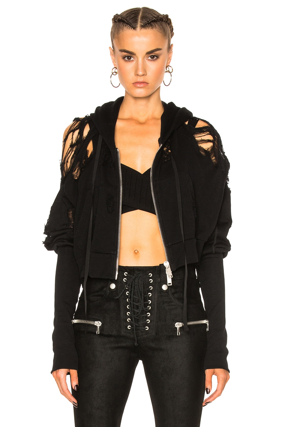 Image 1 of Unravel French Terry Crop Zip Up Hoodie in Black