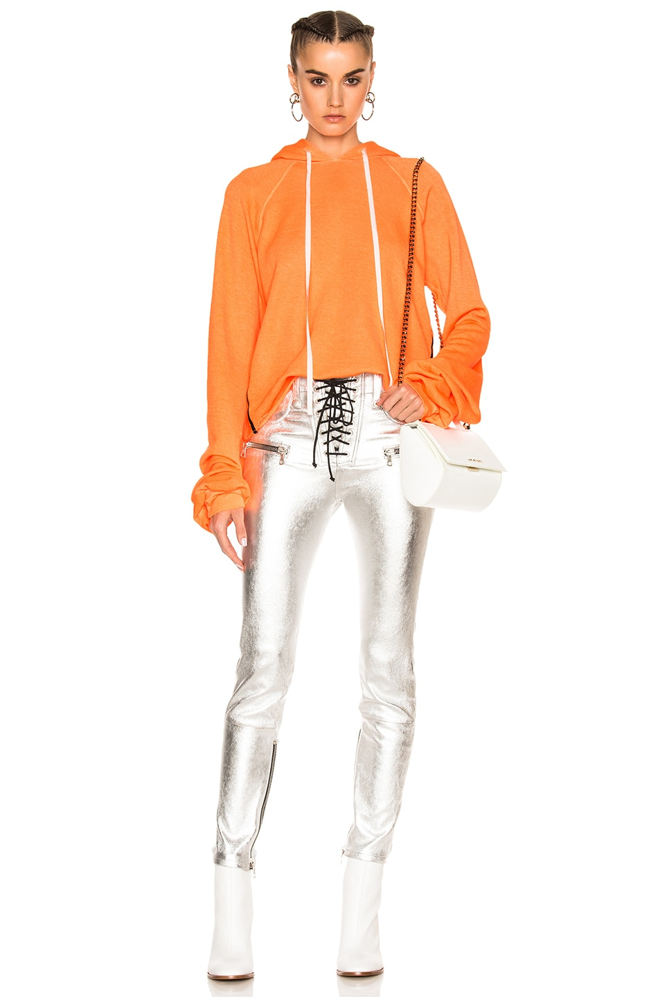 Image 1 of Unravel for FWRD Cropped Oversized Sleeve Hoodie in Sunfaded Neon Orange