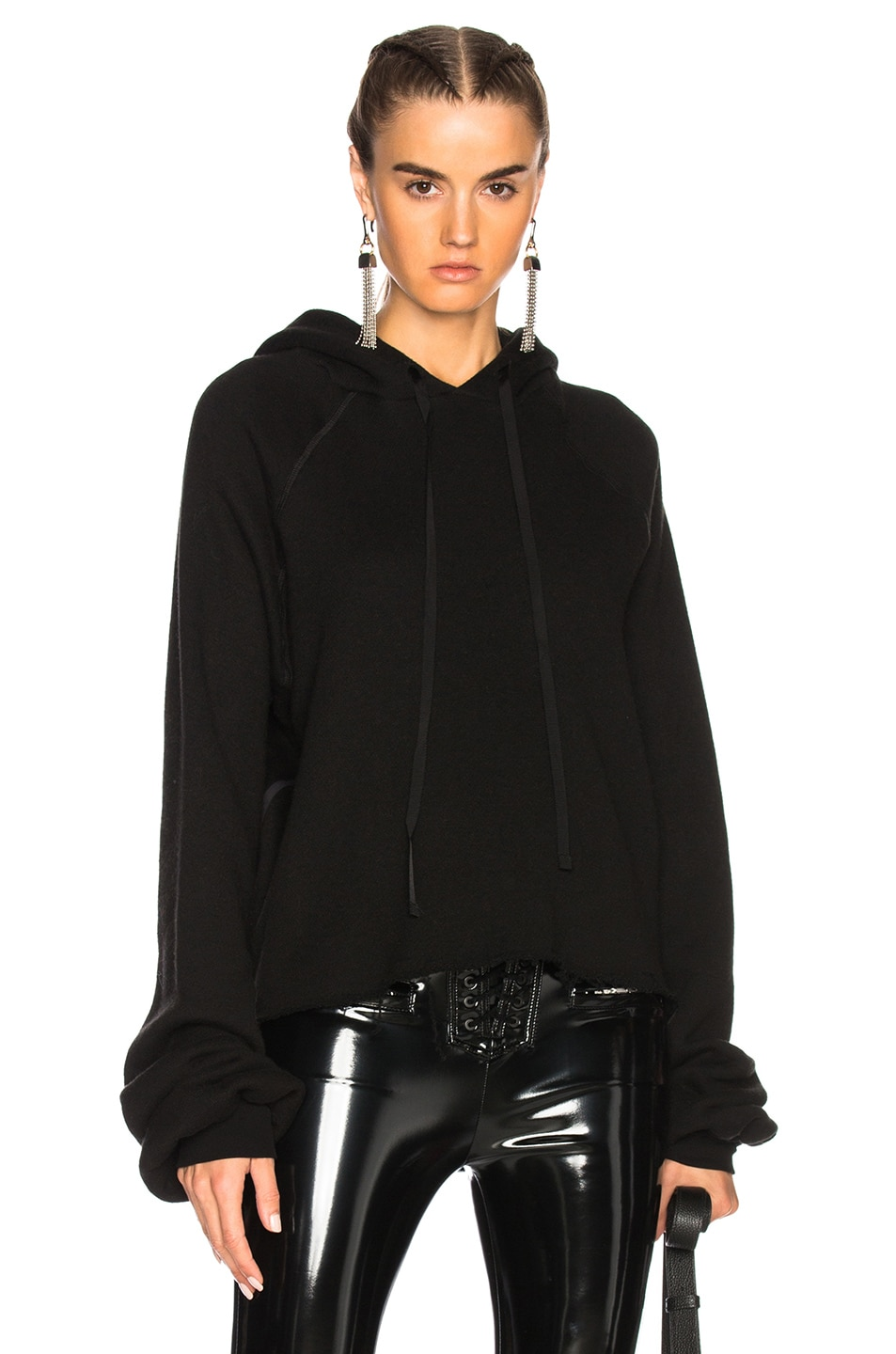 Image 1 of Unravel Cotton Cashmere Cropped Hoodie in Black