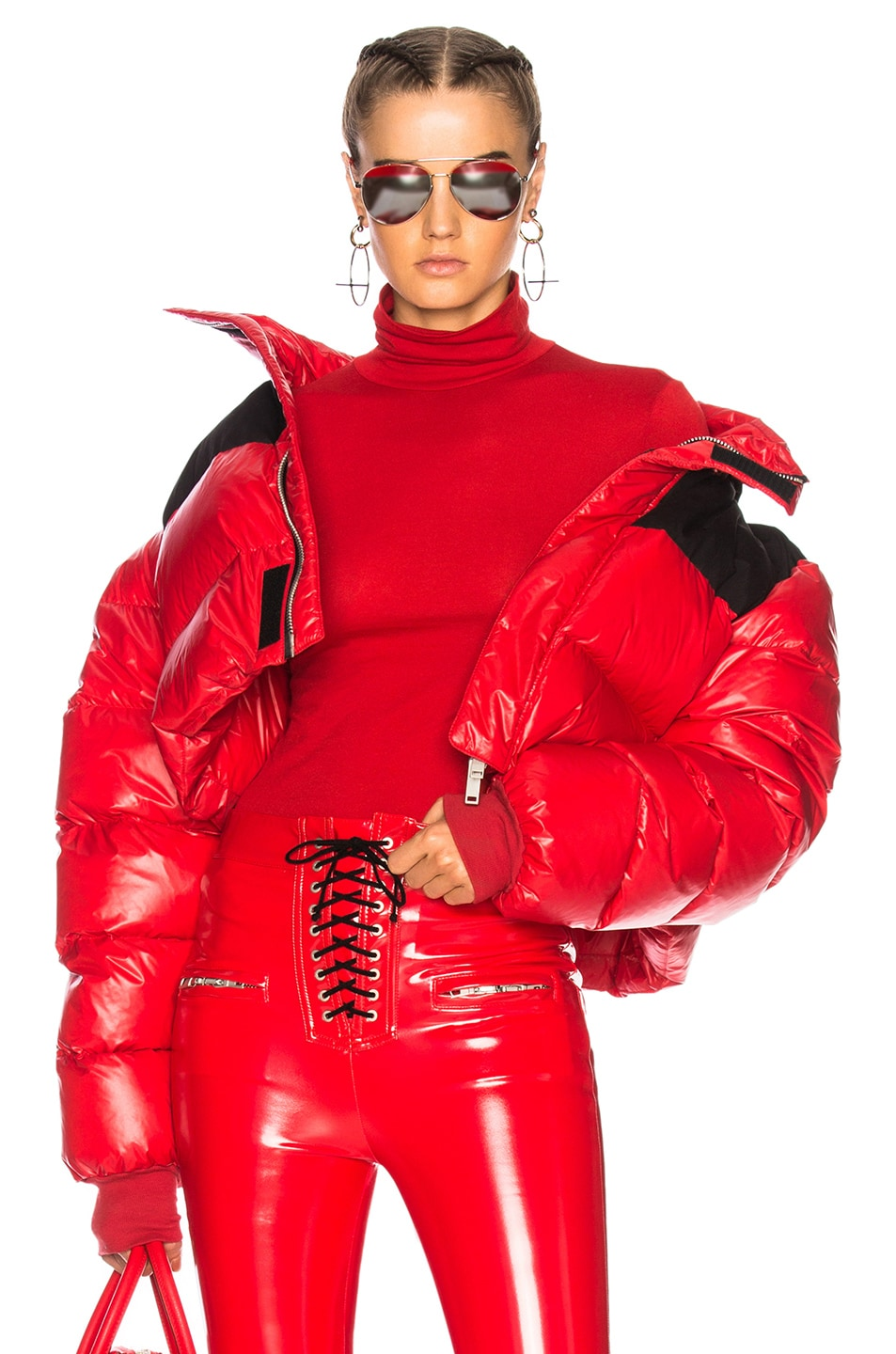 Image 1 of Unravel Shiny Nylon Cropped Down Jacket in Red