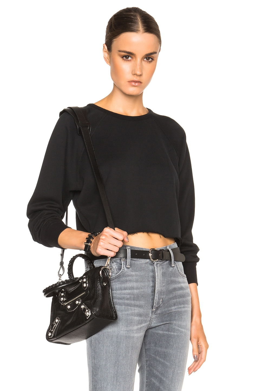 Image 1 of Unravel Cropped Raglan Sweatshirt in Black