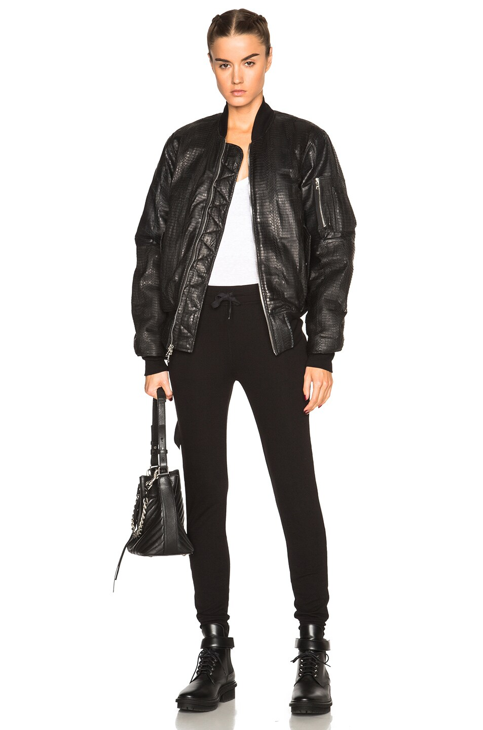 Image 1 of Unravel Distressed Water Snake Bomber in Black