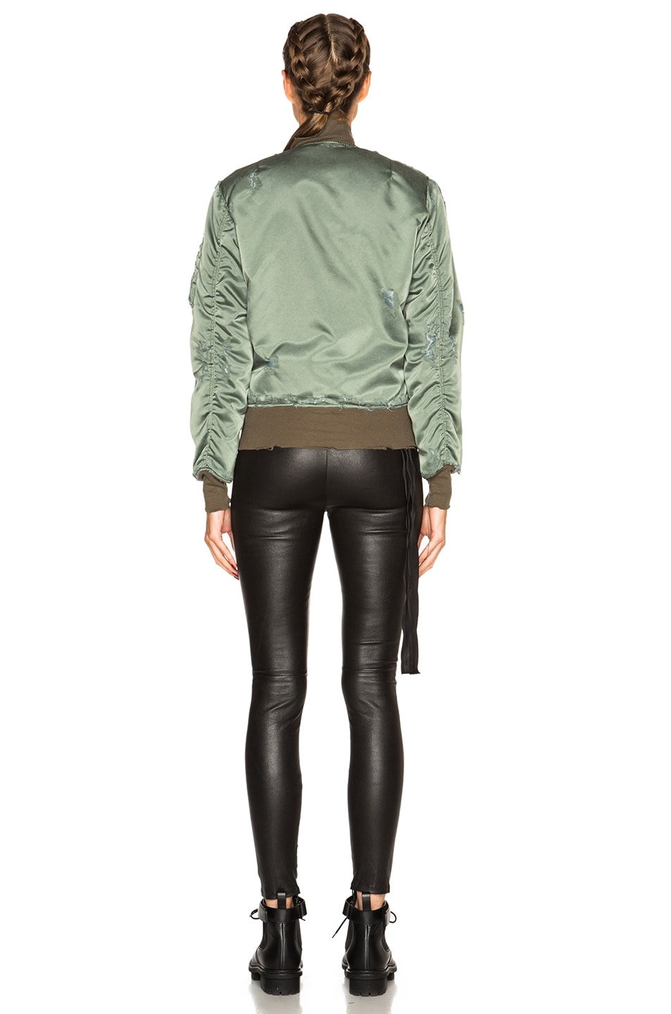 Image 5 of Unravel Oversized Bomber Jacket in Sunfaded Army Green