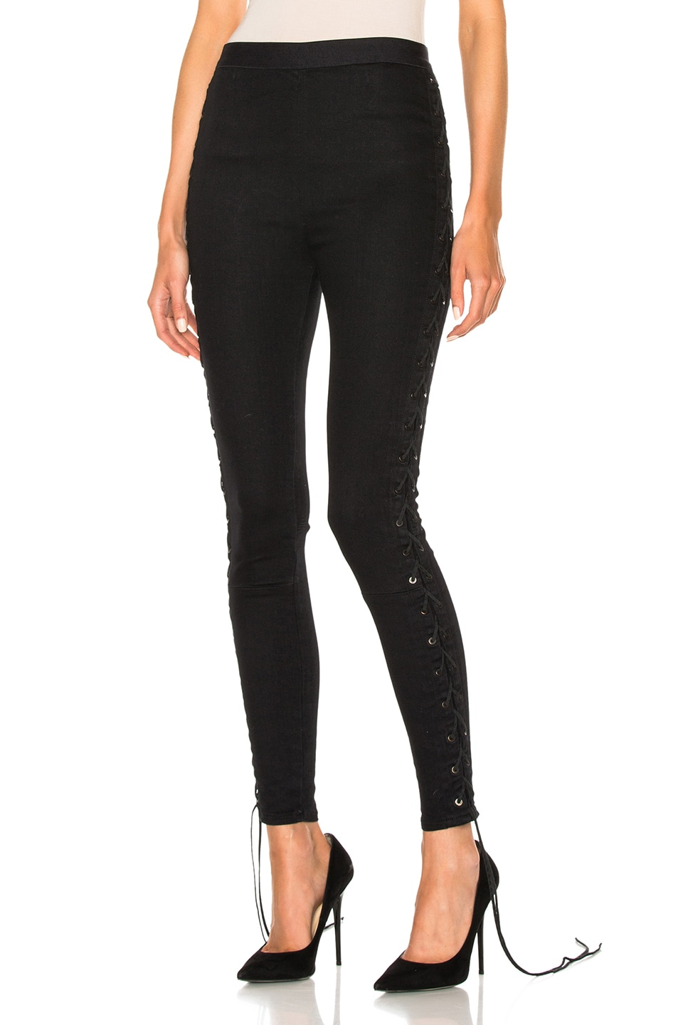 Image 1 of Unravel Side Seam Lace Up Denim Pants in Black