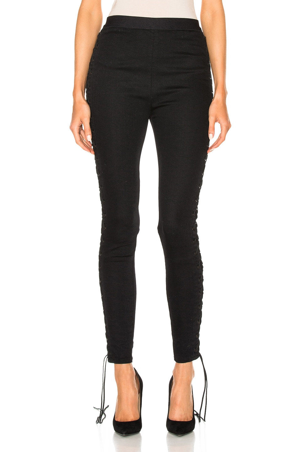Image 2 of Unravel Side Seam Lace Up Denim Pants in Black