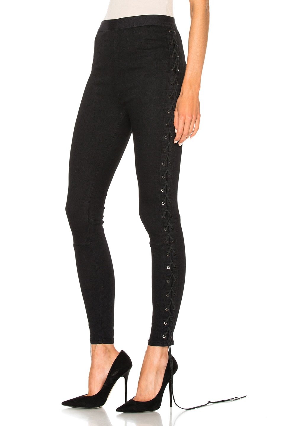 Image 3 of Unravel Side Seam Lace Up Denim Pants in Black