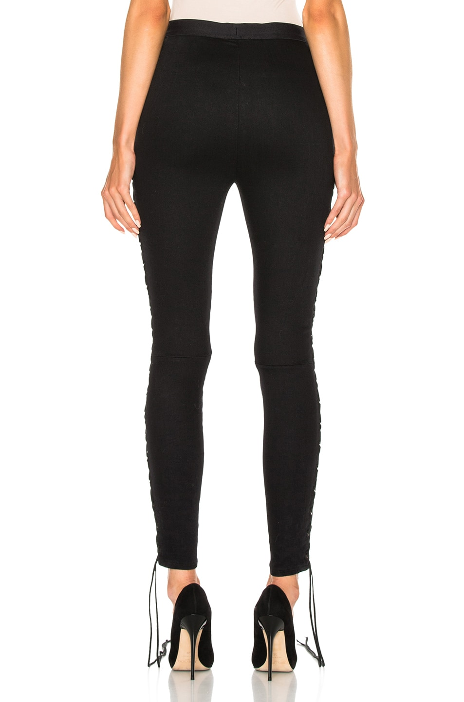 Image 5 of Unravel Side Seam Lace Up Denim Pants in Black