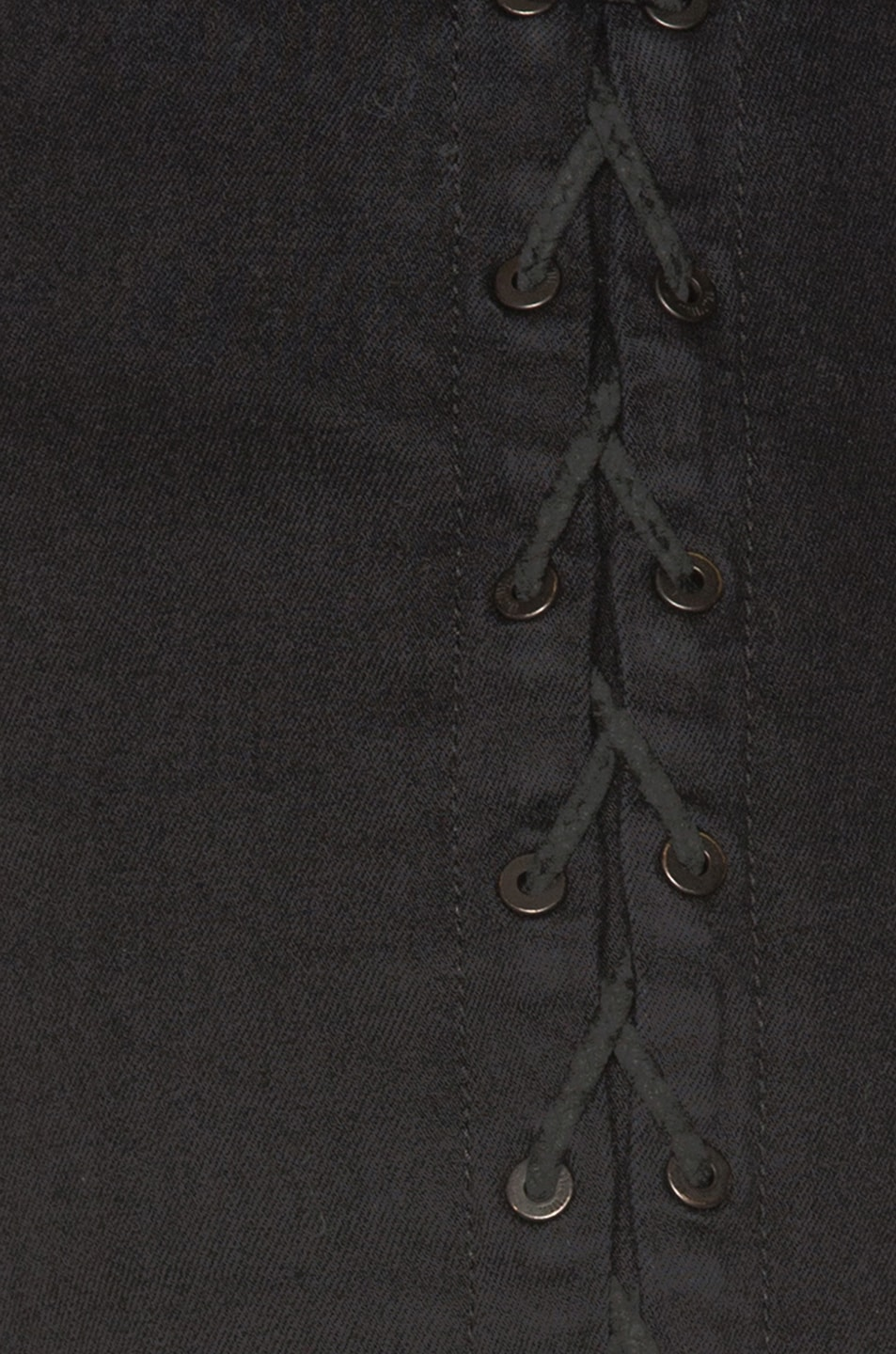 Image 7 of Unravel Side Seam Lace Up Denim Pants in Black