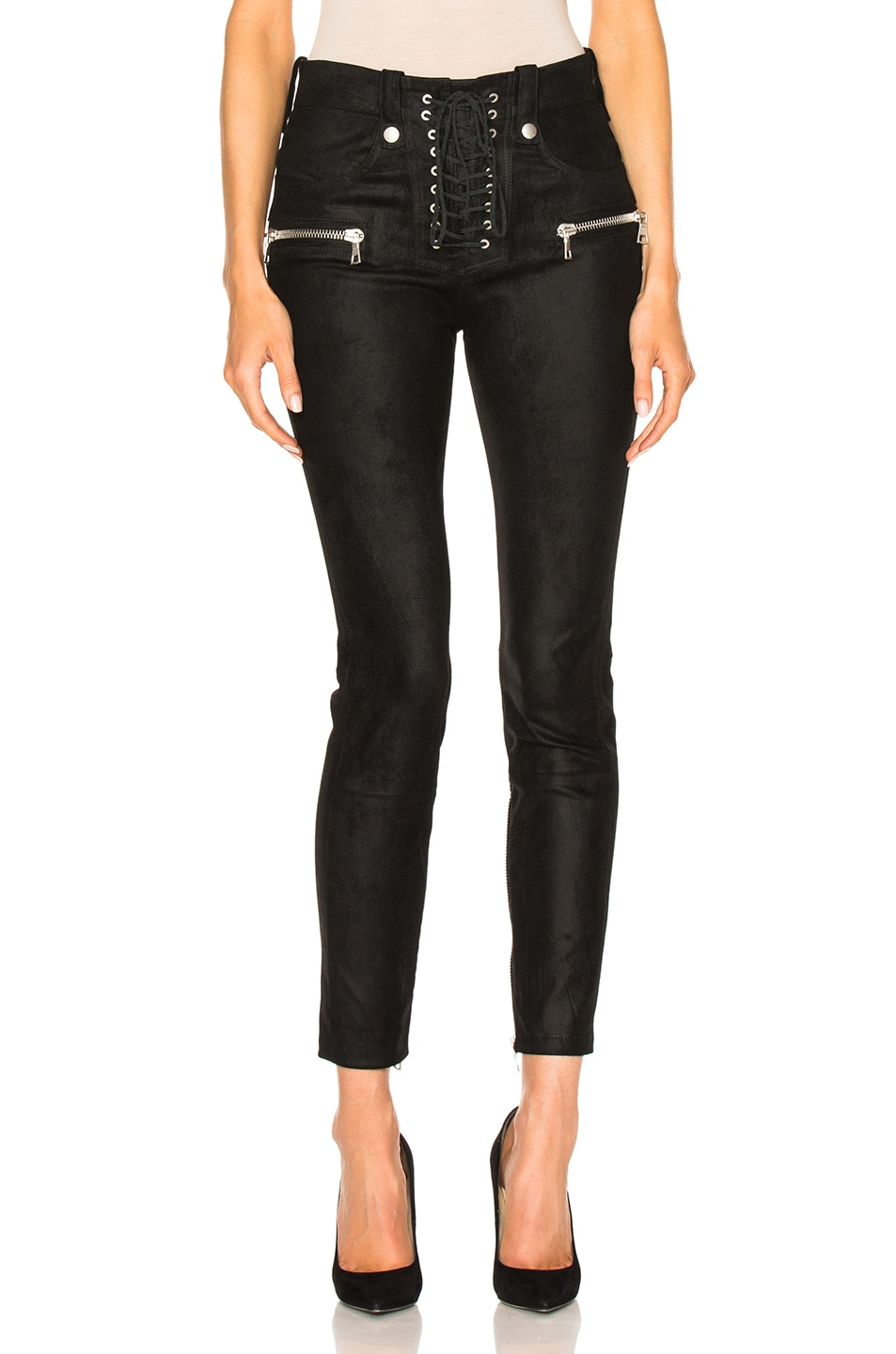 Image 1 of Unravel Suede Lace Up Skinny in Black