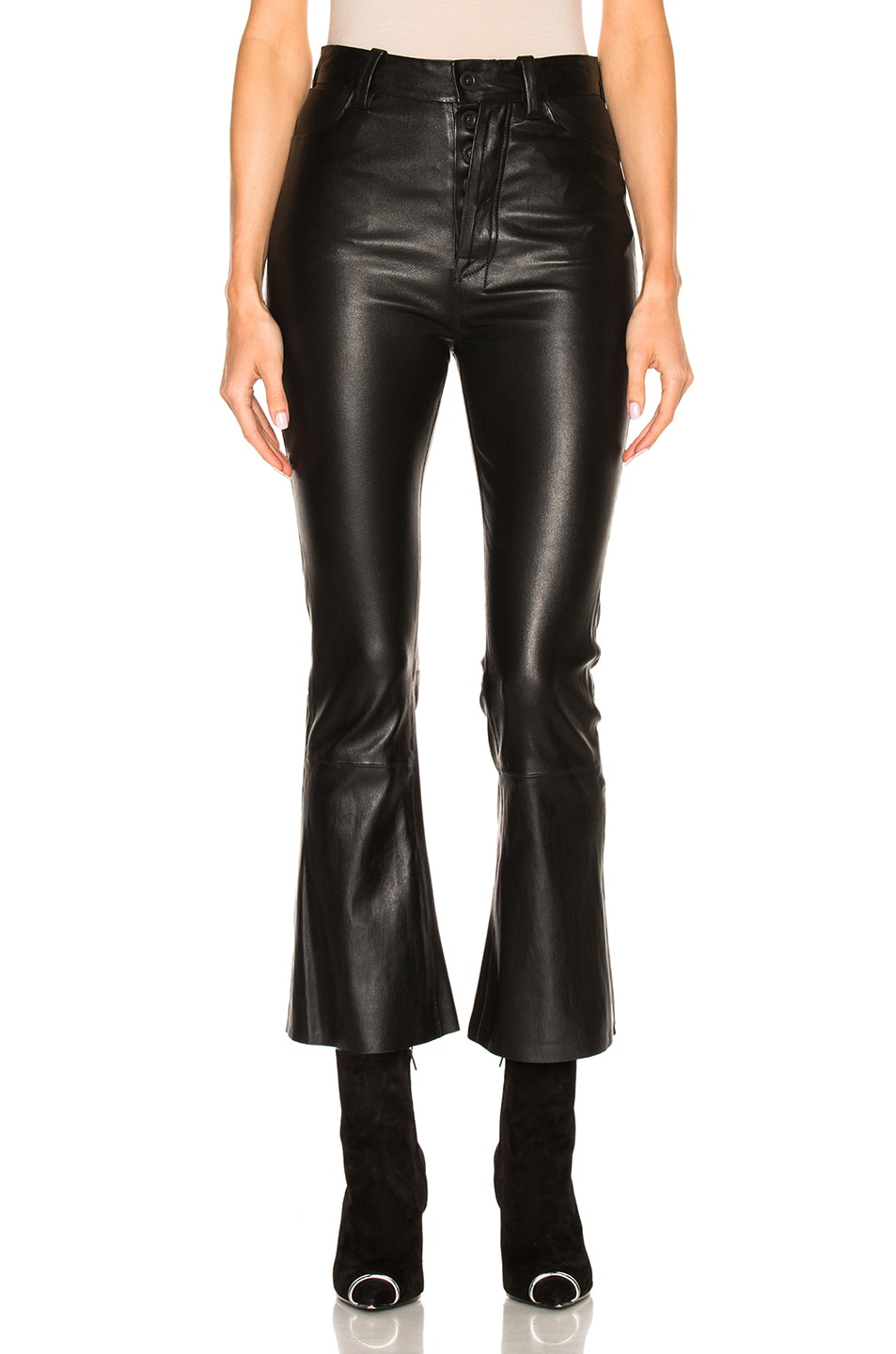 Image 1 of Unravel Crop Flare Leather Pants in Black