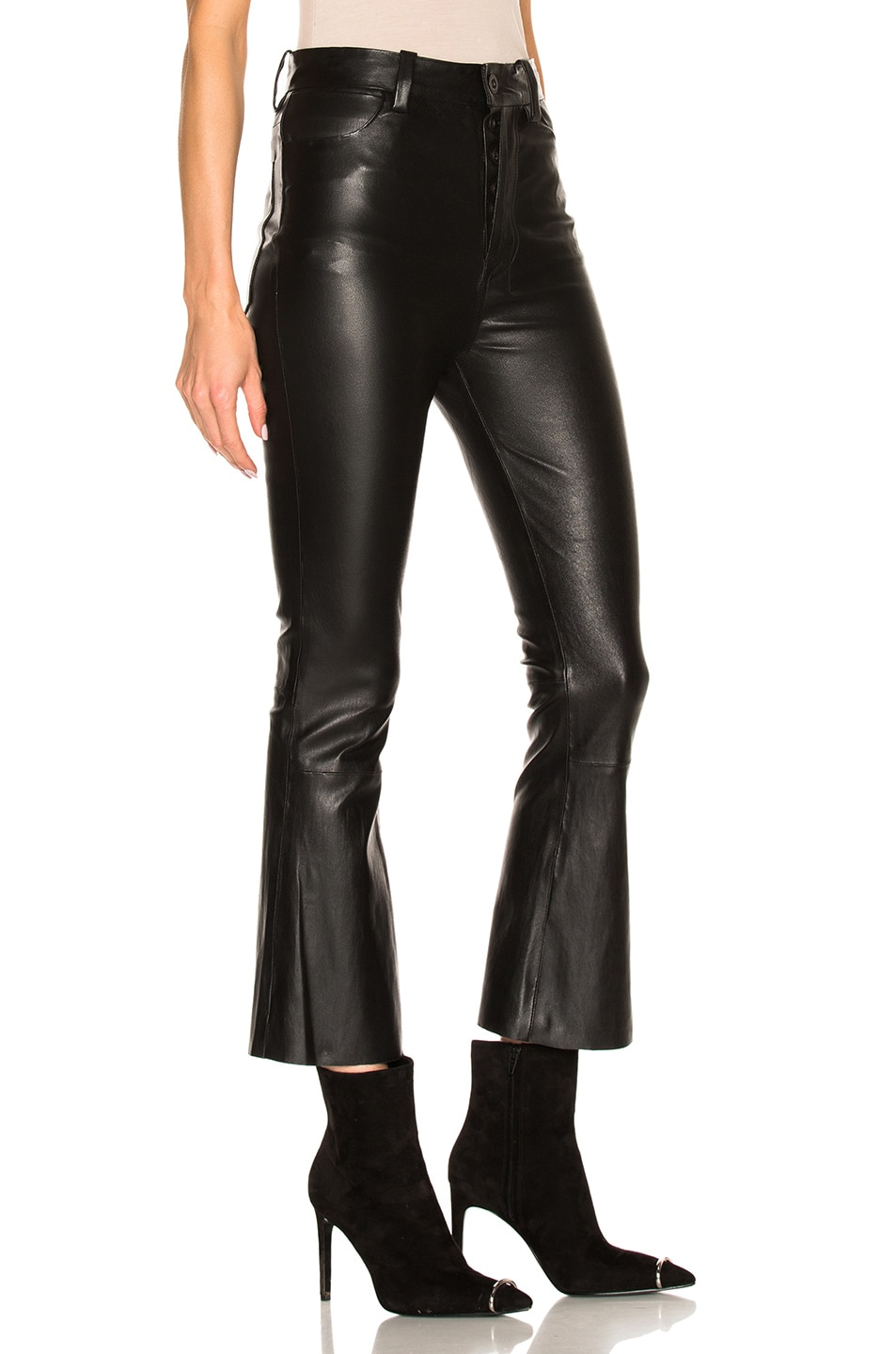 Image 3 of Unravel Crop Flare Leather Pants in Black