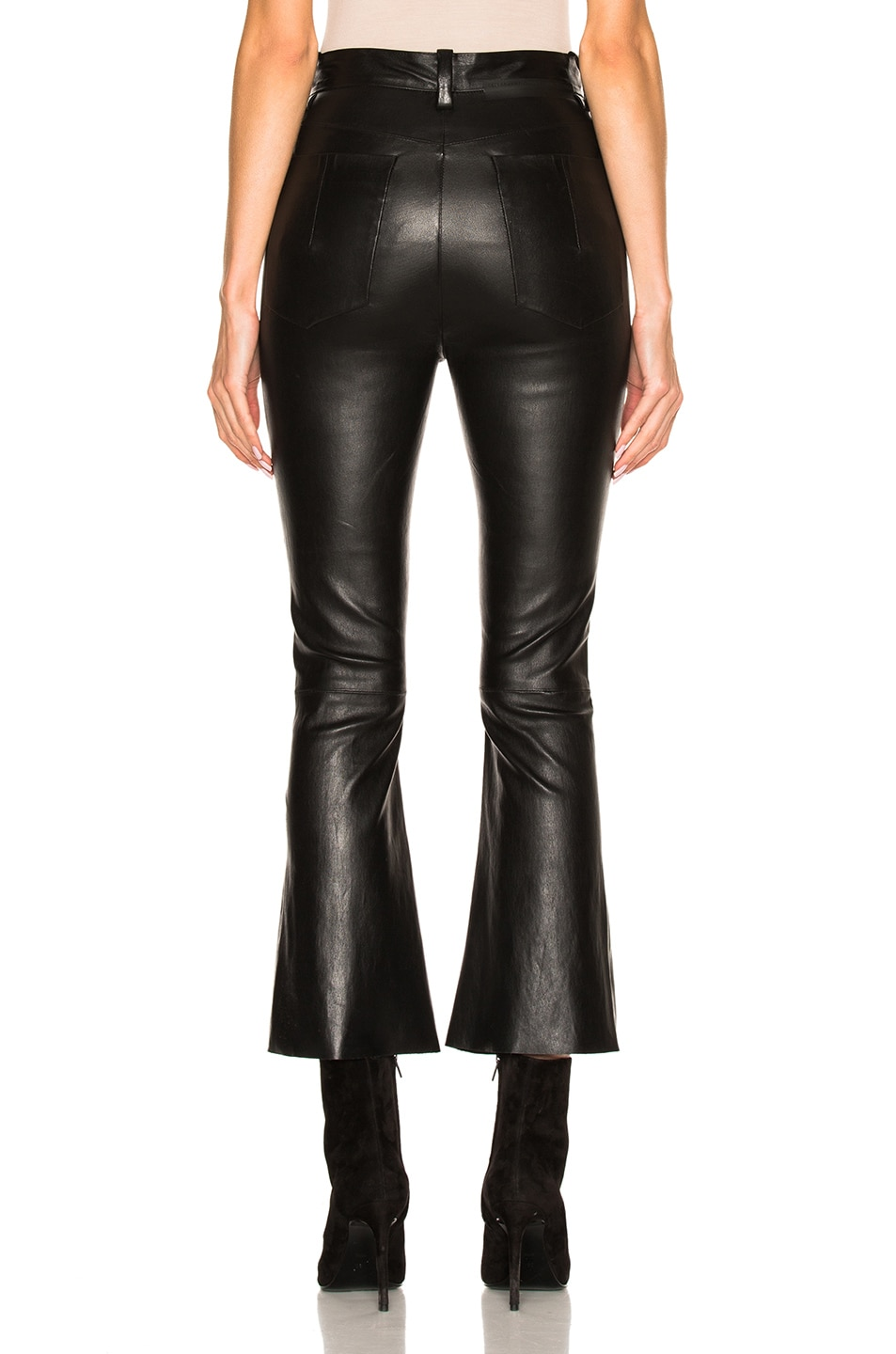 Image 4 of Unravel Crop Flare Leather Pants in Black