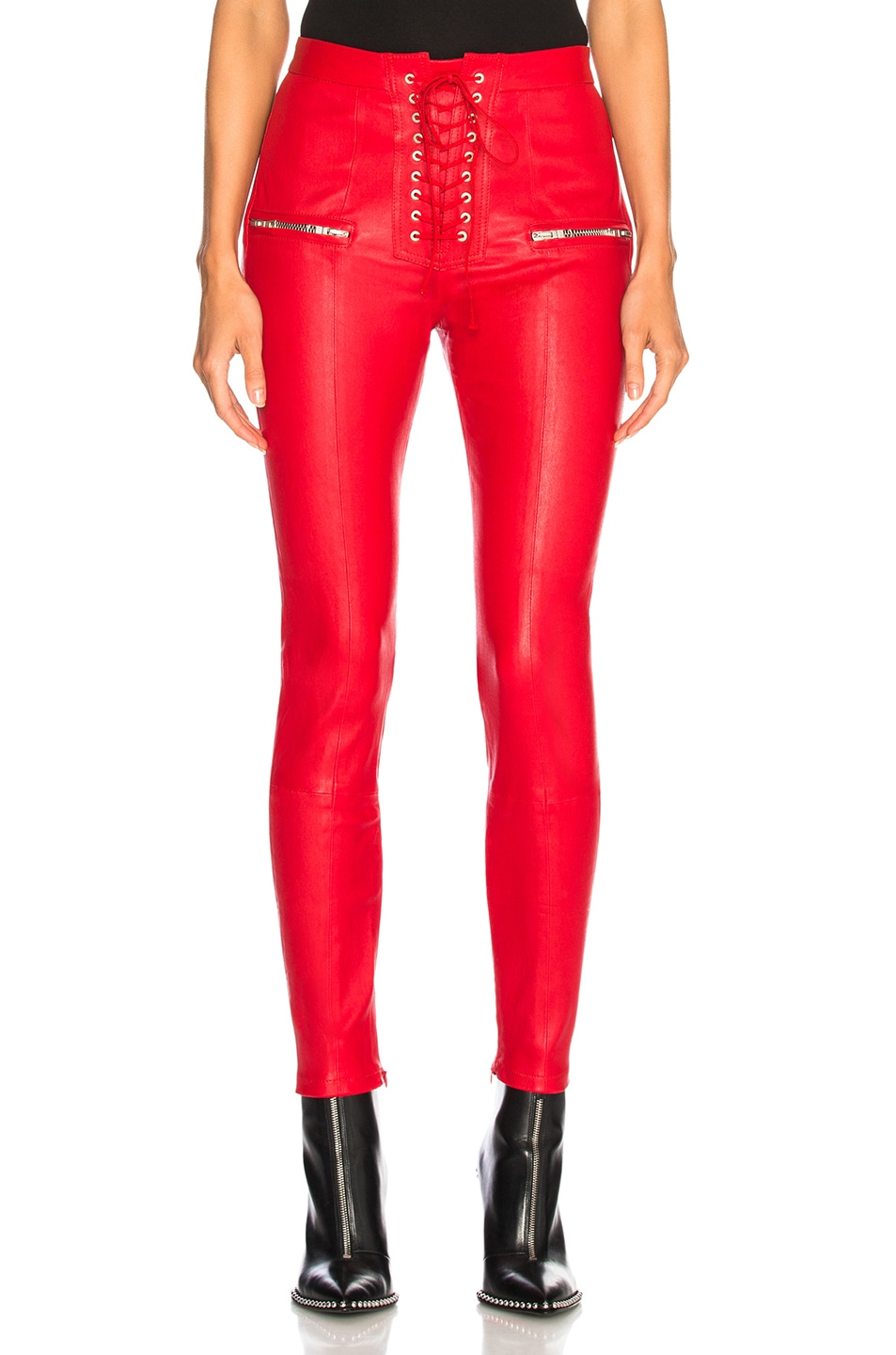 Image 1 of Unravel Leather Lace Up Seam Pants in Red
