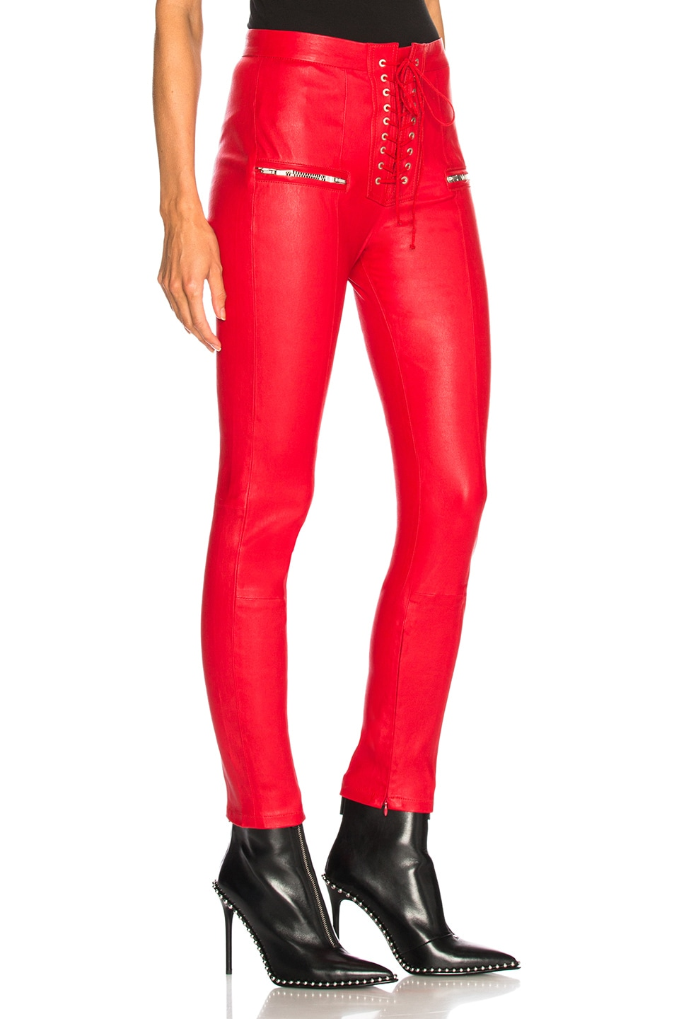 Image 2 of Unravel Leather Lace Up Seam Pants in Red