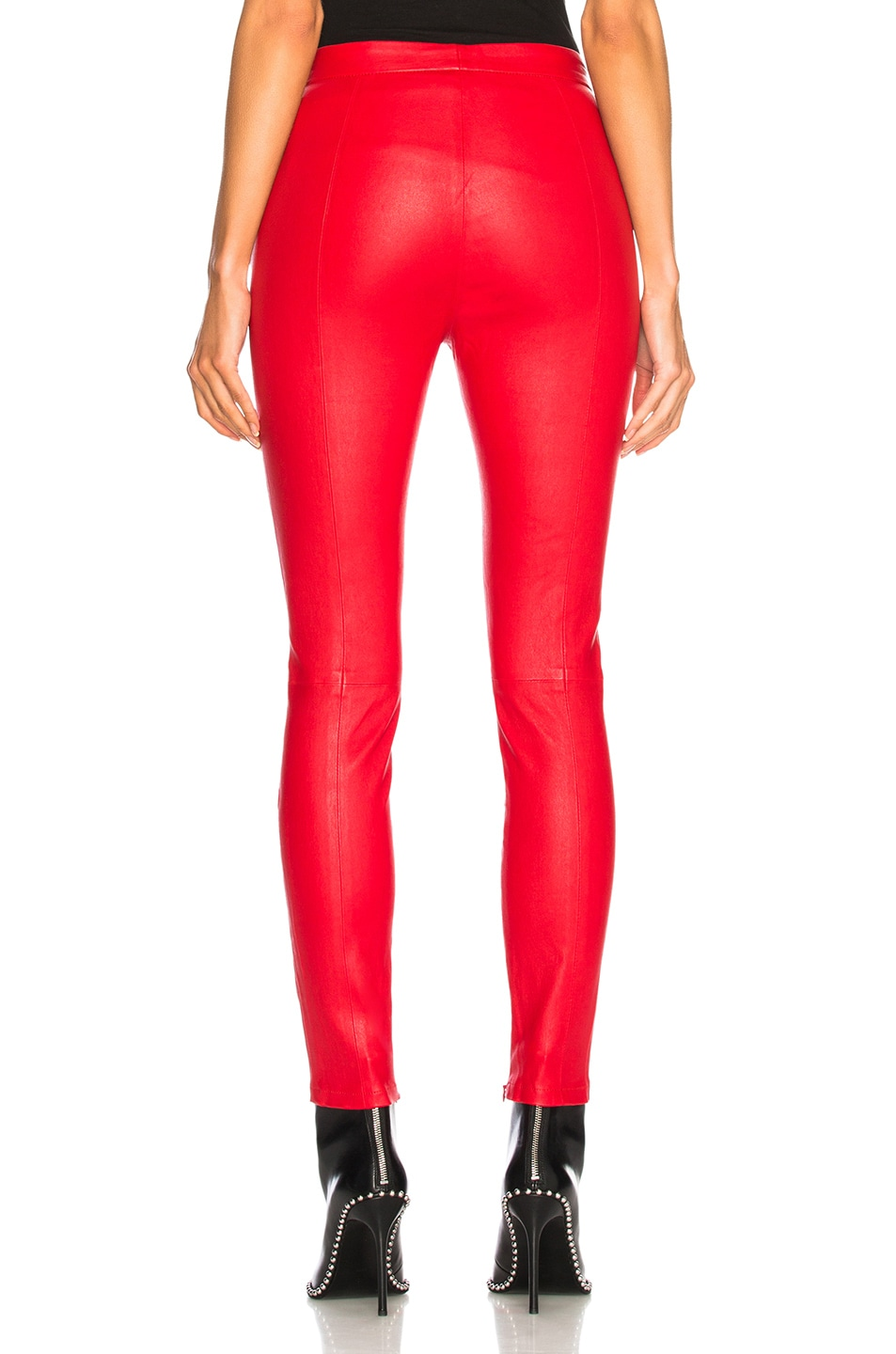 Image 3 of Unravel Leather Lace Up Seam Pants in Red