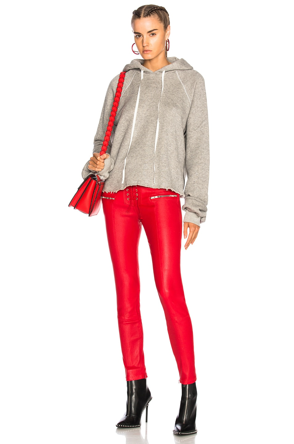 Image 4 of Unravel Leather Lace Up Seam Pants in Red