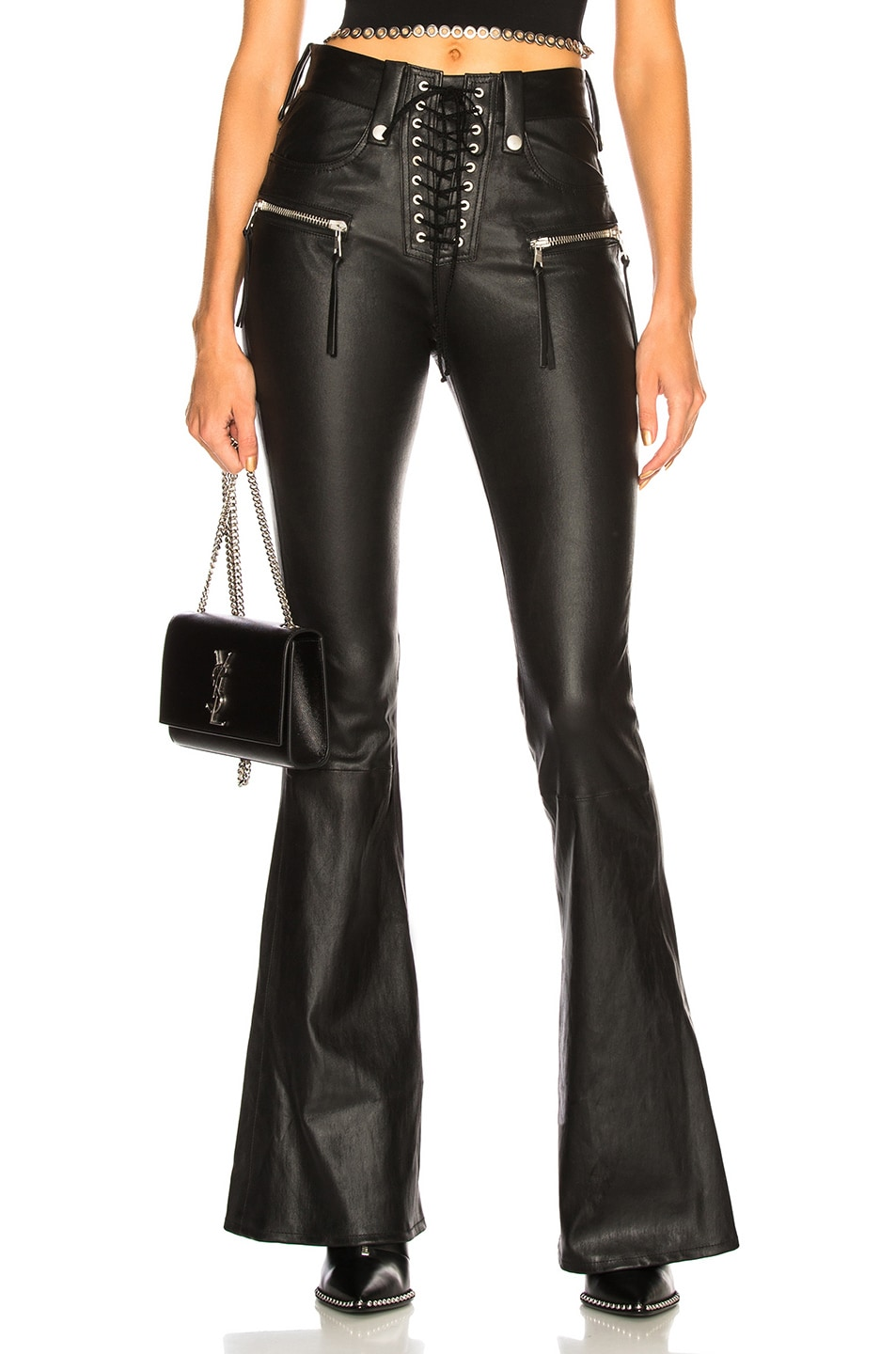 Image 1 of Unravel Leather Lace Up Flare in Black