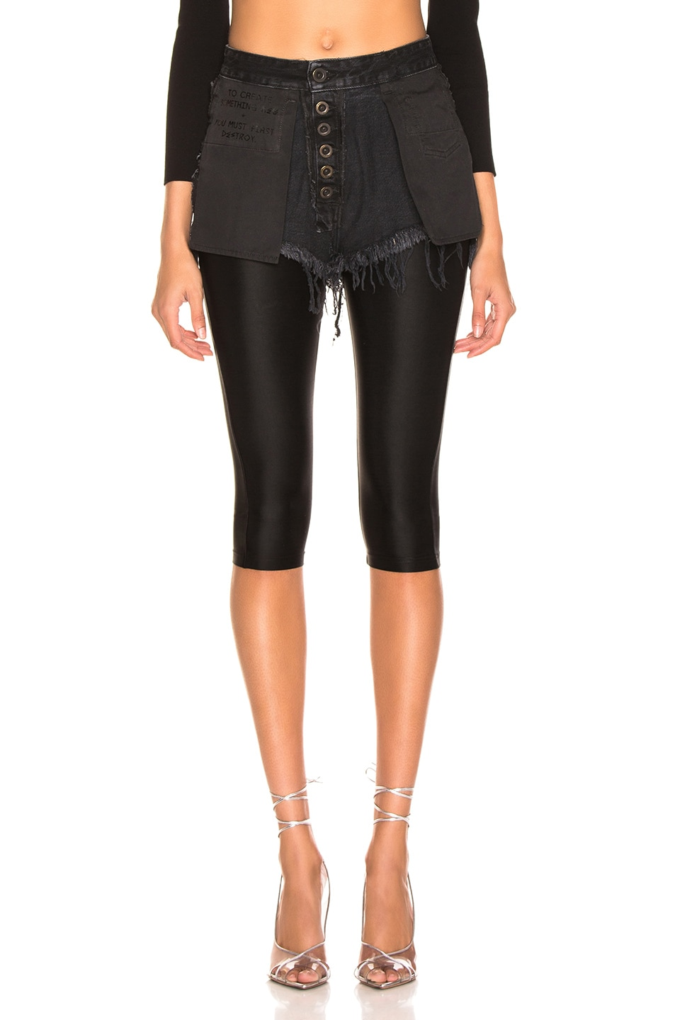 Image 1 of Unravel Stone Wash Chop Legging in Black