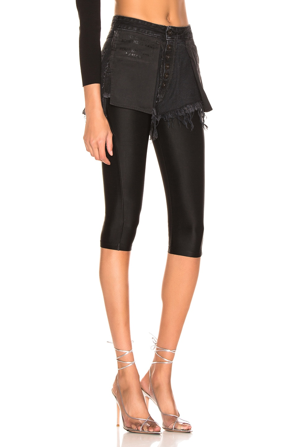 Image 2 of Unravel Stone Wash Chop Legging in Black