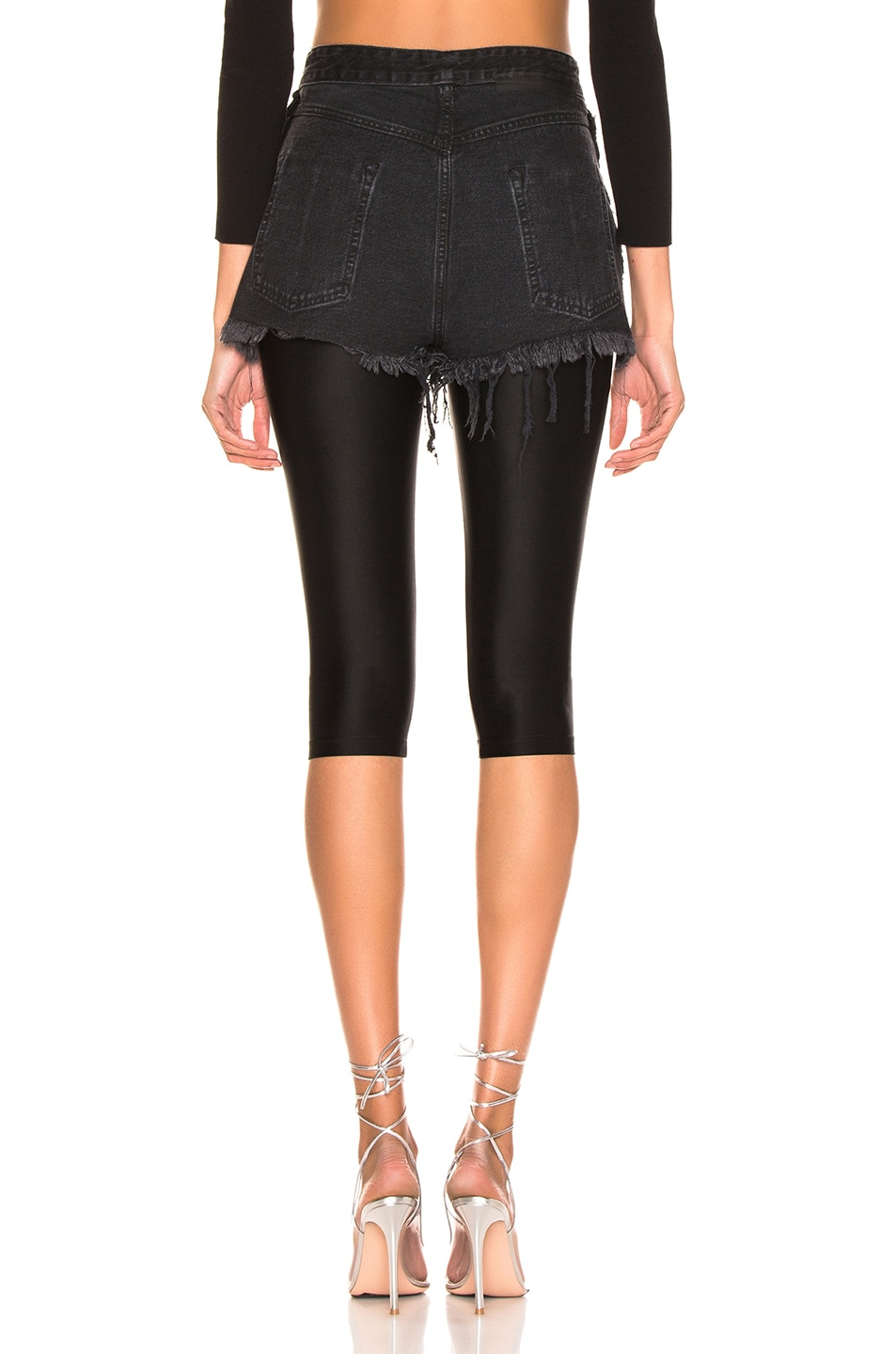 Image 3 of Unravel Stone Wash Chop Legging in Black