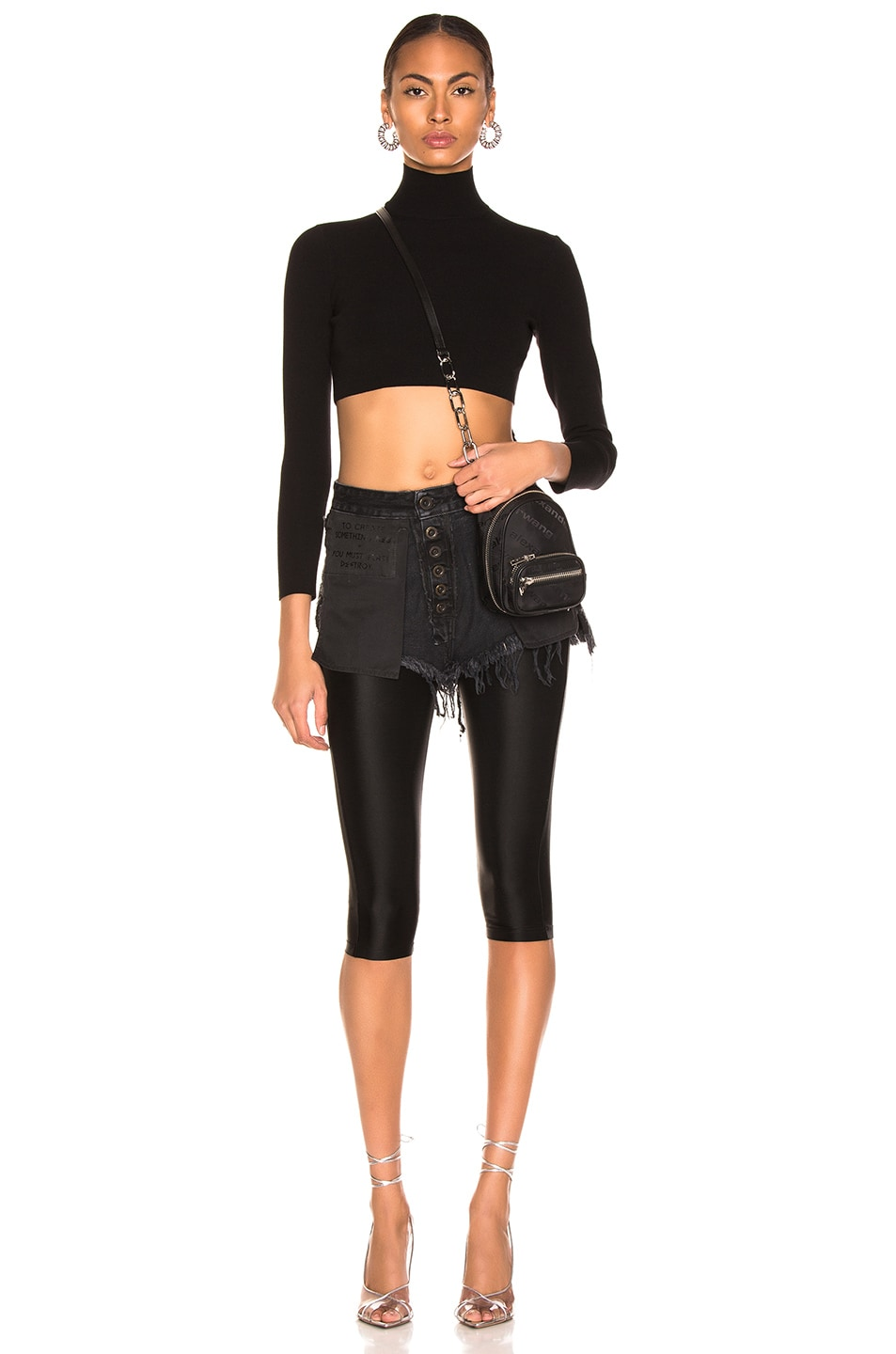 Image 4 of Unravel Stone Wash Chop Legging in Black
