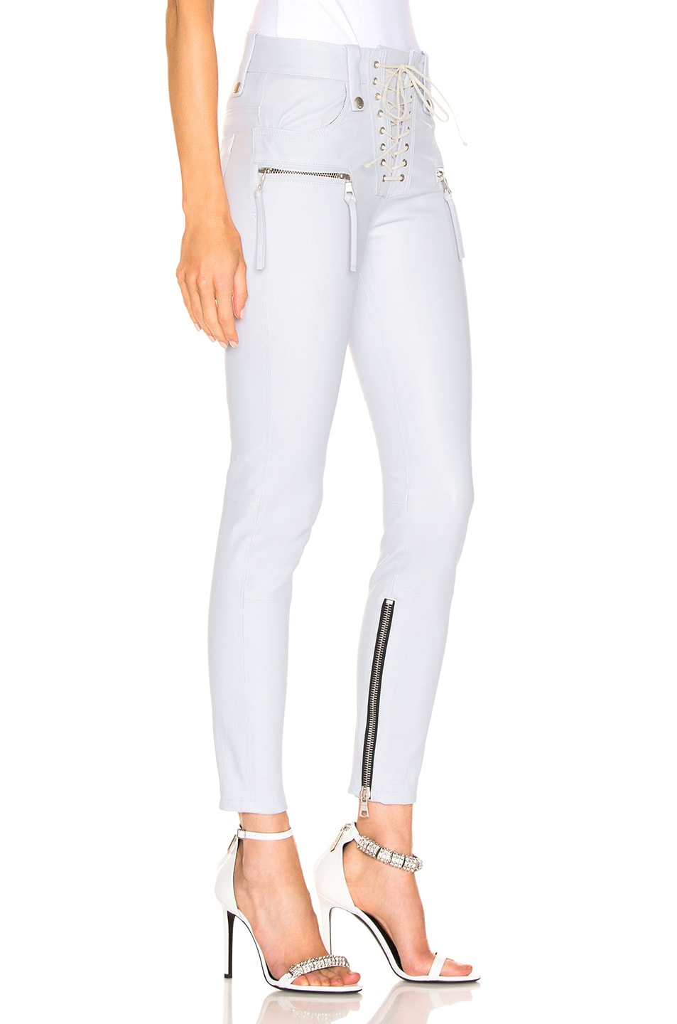 Image 2 of Unravel Plonge Lace Up Skinny Pant in Light Grey